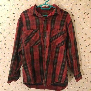 100% Cotton Grunge Button Up Plaid Winter Flannel